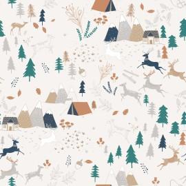 1 coupon de 30 cm de Tissu jersey MOLLETON Oeko tex imprimé camping dans la foret Katia Fabrics