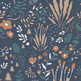 Tissu popeline Oeko tex imprimé fleurs beige fond indigo collection Wild Flowers
