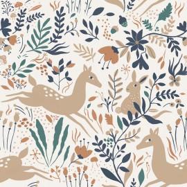 Tissu popeline Oeko tex imprimé fleurs, lapins et biches collection Wild Flowers
