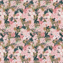 Tissu coton prenium imprimé fleurs fond rose collection English Garden by Cotton and Steel .x1m