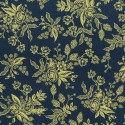 Tissu coton prenium imprimé fleurs or fond bleu collection English Garden by Cotton and Steel .x1m