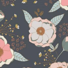 Popeline coton prenium imprimé fleurs roses et menthe collection Sparkler by Art Gallery Fabrics .x1m