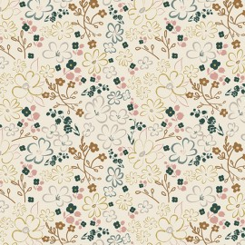 Popeline coton prenium imprimé fleurs bleu et moutarde collection Sparkler by Art Gallery Fabrics .x1m