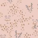 Tissu Popeline coton prenium imprimé étoiles, cerfs et chats fond rose collection Sparkler by Art Gallery Fabrics .x1m