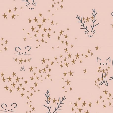 Popeline coton prenium imprimé étoiles, cerfs et chats fond rose collection Sparkler by Art Gallery Fabrics .x1m