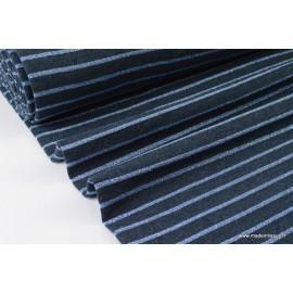 Tissu Jersey Oeko tex coloris Bleu à rayures Lurex bleu