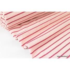 Tissu Jersey Oeko tex coloris Rose à rayures Lurex Fuchsia