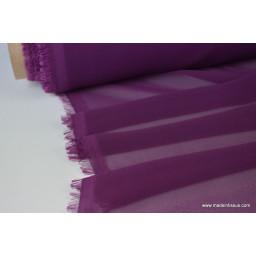 tissu Mousseline fluide polyester prune x50cm