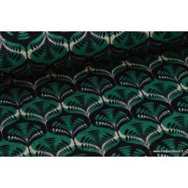 Jersey lourd Punto di Roma Wax coloris Vert et Noir