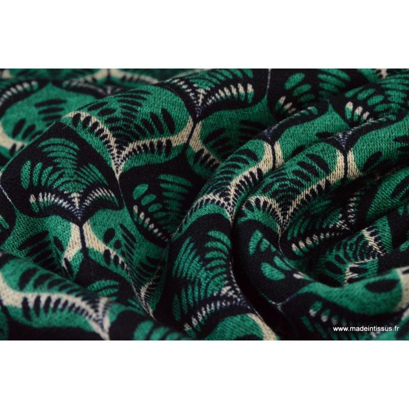 tissu jersey lourd punto di roma wax coloris vert et noir. Black Bedroom Furniture Sets. Home Design Ideas