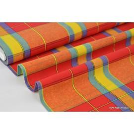 Tissu Popeline Coton à carreaux MADRAS rouge, bleu et jaune