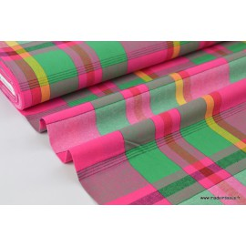 Tissu MADRAS coton rose, vert et jaune