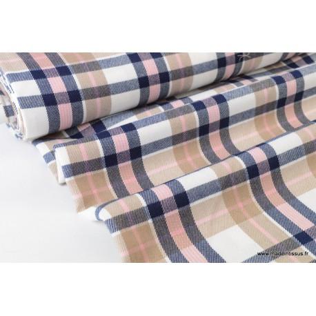 Tissu sergé à carreaux bleu, rose et écru