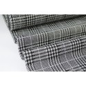 Tissu jersey LUREX Prince de Galles noir, blanc et argent
