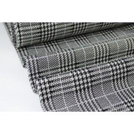 Maille tricoté LUREX Prince de Galles noir, blanc et argent