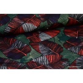 Tissu Royal Micro Satin by Penelope, fluide imprimé feuilles végétales Kaki .x1m