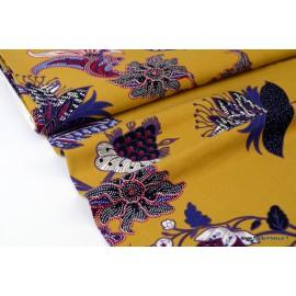 Tissu sergé Viscose fluide imprimé fleurs prune et violet fond moutarde