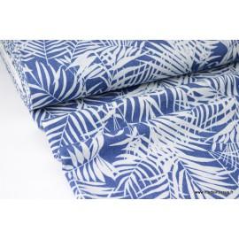 Tissu jean's bleu denim imprimé feuilles végétales .x1m