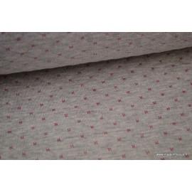 Tissu Jersey coton matelassé Gris mélangé à points Rose