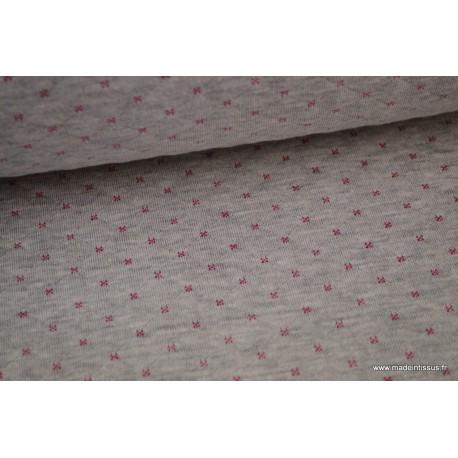 Jersey coton matelassé Gris mélangé à points Rose