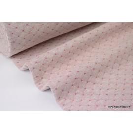 Jersey coton matelassé Rose mélangé à points Fuchsia