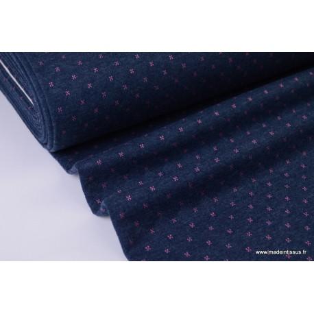 Tissu Jersey coton matelassé Bleu Marine à points Fuchsia