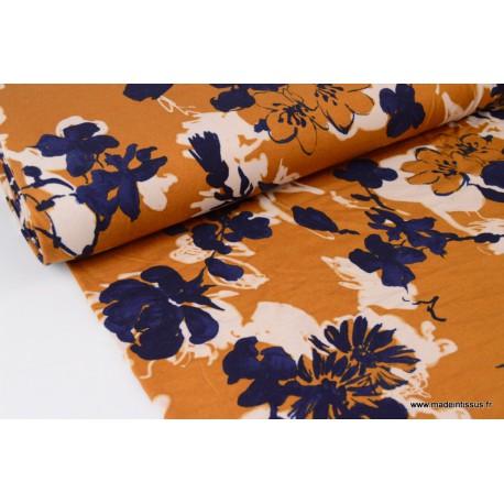 Tissu jersey Viscose imprimé fleurs bleu marine et Moutarde
