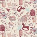 Tissu Popeline coton prenium imprimé Miss Ditzy rouge et bleu collection Little Clementine by Art Gallery Fabrics .x1m