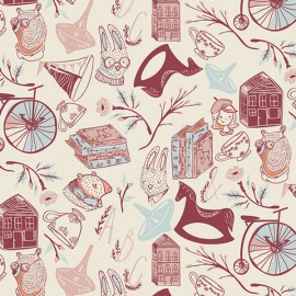 Popeline coton prenium imprimé Miss Ditzy rouge et bleu collection Little Clementine by Art Gallery Fabrics .x1m