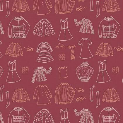 Popeline coton prenium imprimé garde robe Miss Ditzy rouge collection Little Clementine by Art Gallery Fabrics .x1m