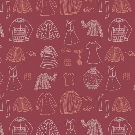 Tissu Popeline coton prenium imprimé garde robe Miss Ditzy rouge collection Little Clementine by Art Gallery Fabrics .x1m