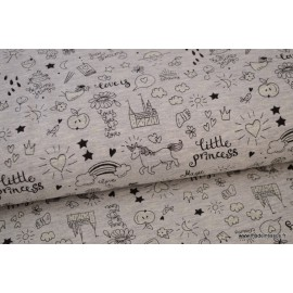 Tissu Jersey phosphorescent Little Princess Gris