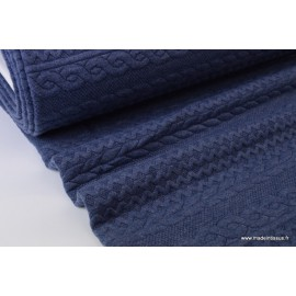 Tissu Jersey matelassé Torsadé coloris Bleu denim