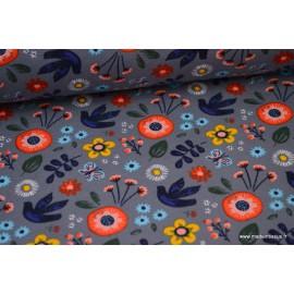 Tissu jersey French terry Oeko tex imprimé fleurs multi fond gris foncé