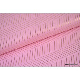 Tissu coton RICO design WONDERLAND fond rose Chevrons Or