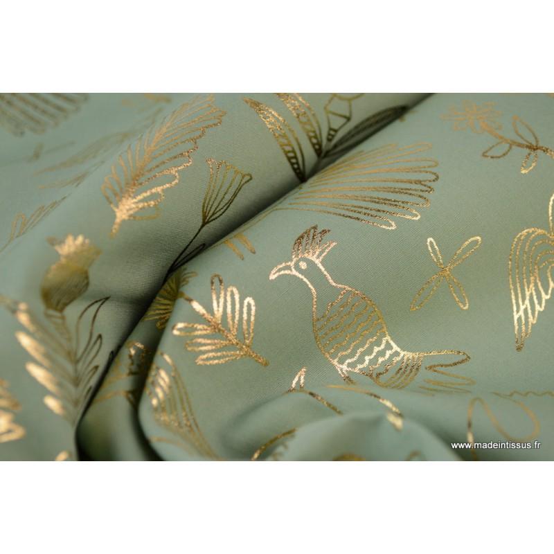 Tissu coton RICO design collection ALPACA imprimé Oiseaux et fleurs ...