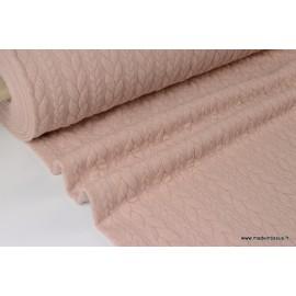 Tissu Jersey matelassé Torsadé coloris Rose