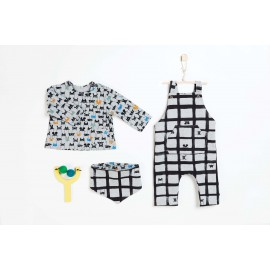 Pochette patron bébé du 1 au 12 mois, 3 en 1 SALOPETTE, tee-shirt et Bandana !