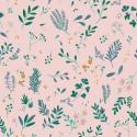 Tissu jersey Oeko tex imprimé fleurs sur fond rose Katia fabrics