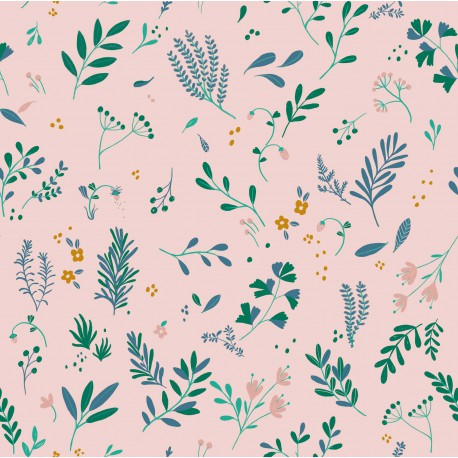 Tissu jersey Oeko tex imprimé fleurs sur fond rose