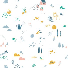 Tissu popeline Oeko tex imprimé arrosoirs, carottes, chapeaux collection Farmer