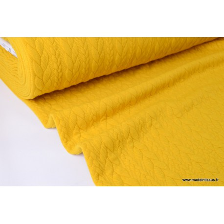 Tissu Jersey matelassé Torsadé coloris moutarde