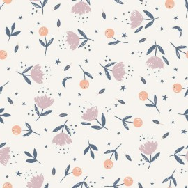 Tissu popeline Oeko tex imprimé fleurs Katia Fabrics