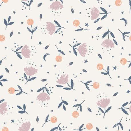 Tissu popeline Oeko tex imprimé fleurs