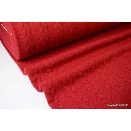 Tissu Jersey matelassé Torsadé coloris Rouge Hermès