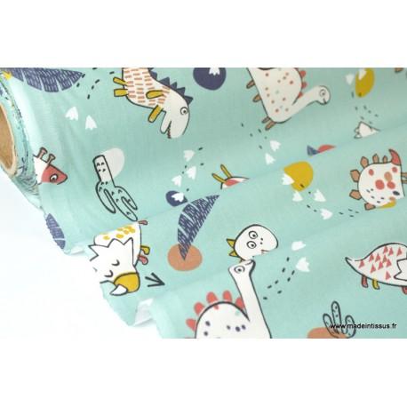 Tissu coton imprimé Dinosaures Vert Nil Oeko tex