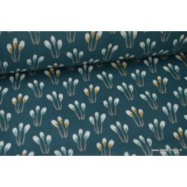 Tissu coton imprimé Fleurs fond Vert Oeko tex