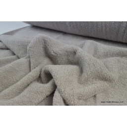 Tissu Eponge coton gris lisiere cousue fermée au mètre