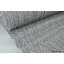 Tissu Jersey Torsadé coloris chiné gris perle noir
