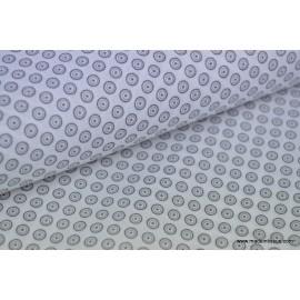 Tissu popeline coton imprimé dessin disc gris sur blanc x50cm